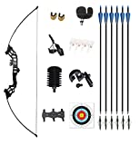 Monleap 51' Takedown Recurve Bow and Arrow for Adults kit 30 40 50lb Aluminum Alloy Riser for Shooting Practice Competition Archery Longbow Set with Hunting Arrows Right Hand Straight Bow(Black,50lb)