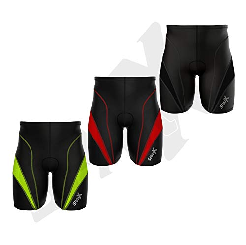 Sparx Men Triathlon Bike Short Triathlon Shorts Mens Trishort Swim-Bike-Run (Black/Neon Green, Large)