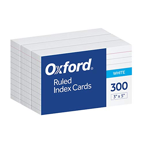"Oxford Ruled Index Cards, 3"" x 5"", White, 300 pack (10022)"