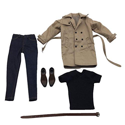 Gazechimp 1/6 Langen Windmantel, T-Shirt, Jeans Hosen, Gürtel, Schuhe Bekleidung Anzug Für 12'' Männliche Aktion Figur - Khaki