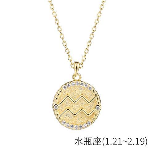 Bgpom Halskette Besteck S925 Sterling Silber Runde Anhänger Weibliche Zwölf Sternbild Halskette Weibliche Schlüsselbeinkette, Wassermann