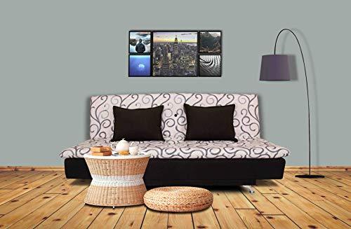 Adorn India Berry 3 Seater Sofa Cum Bed Digitel Print (Grey & Black)