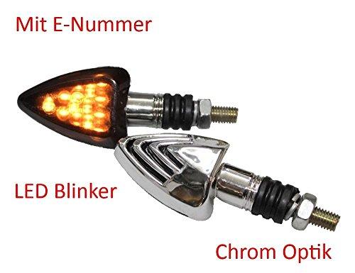 Motorrad Mini Blinker LED Jake Chrom getönt E-geprüft für ATV BMW F 650 R 1100 CB 500 600 CBR Kawasaki ER GPZ Ninja Z Suzuki DR GS GSR GSX RGV Yamaha FZ DT RN XT XJ