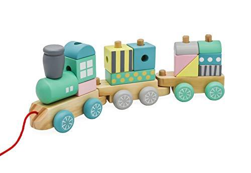 Mamabrum, Tren de Juguete de Madera de Primera Edad - 3 vagones con Diferentes Combinaciones - Bloques de construcción y Formas para apilar y Ajustar - Cumple con CE y EN - Colores Pastel