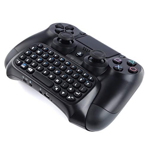 CEStore PS4 Wireless Bluetooth Mini Message Keyboard Chatpad Rechargeable Gamepad with 3.5mm Live Chat Headset Audio Jack Connection Port for Sony PS4 DualShock Controller