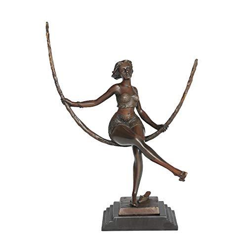LOSAYM Estatua De La Escultura Estatuillas Decoracion Mujer Columpio Escultura Bronce Verde Vintage Mujer Estatua De Latón Decoración De Sala De Estar-1_39 * 29 * 16Cm
