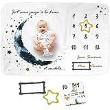 Couverture Bébé Photo Mensuelle en FRANÇAIS, Cadeau Naissance Nouveau-Né, Accessoires de Photographie, Babyshower, en Polaire