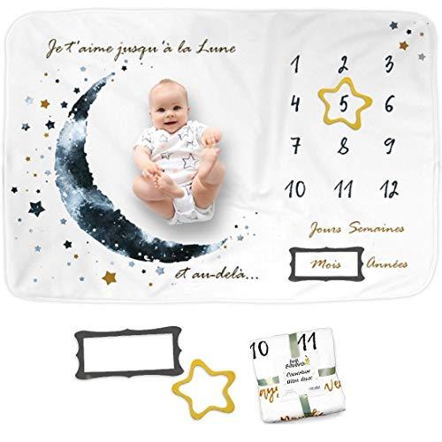 Couverture Bébé Photo Mensuelle en FRANÇAIS, Tapis Mois Bébé, Cadeau Naissance Garçon, Carte Etape Bébé, Cadeau Naissance Personnalisé, Couverture Bébé Babyshower, en Polaire