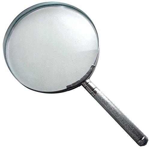 2x Handheld Magnifier - 4-Inch Diameter - Steel Construction