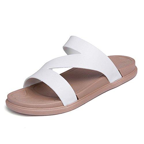 YANGFAN Zapatos de Cuero, Zapatos Casuales, Trabajo, al ai Zapatos de Camello para Hombres y Mujeres, Zapatillas de Moda, Correas de talón Plano (Color : White, Size : 39EU)
