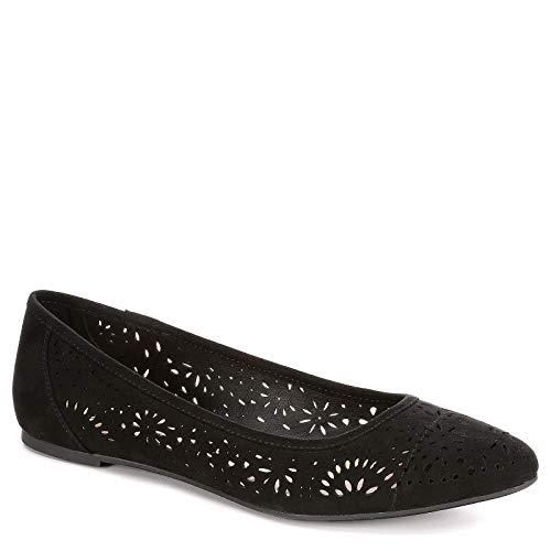 XAPPEAL Womens Adilene Perforated Slip On Flat Shoes, Black, US 8