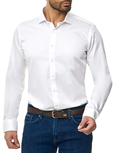 BARBONS Herren-Hemd - Bügelleicht - Tailord-Fit - Langarm-Hemd für Business Freizeit Büro - A - Weiß (ÄL68) L (41-42)