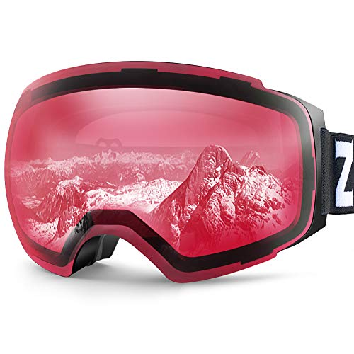 ZIONOR X4 Ski Goggles Magnetic Lens - Snowboard Goggles for Men Women Adult - Snow Goggles Anti-Fog UV Protection (VLT 49.02% Black Frame Clear Close Lens)