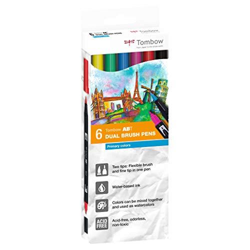 TOMBOW Dual Brush Pen ABT, 6-colours-set, primary colours