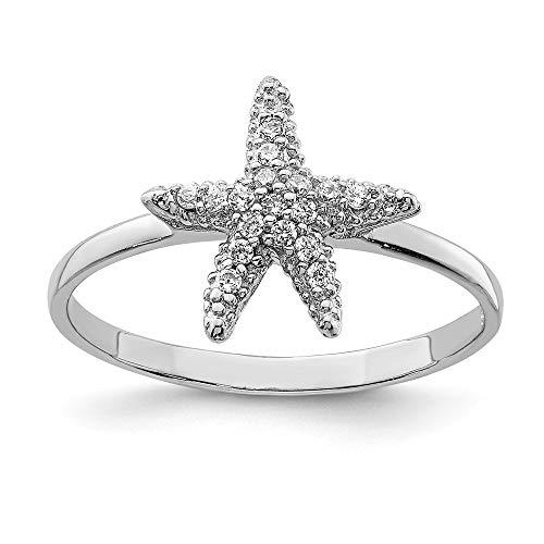 925 Sterling Silver Cubic Zirconia Cz Starfish Band Ring Size 8.00 Sea Shell Life Fine Jewelry For Women Gifts For Her