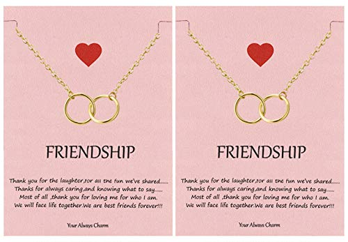 Your Always Charm Double Circle Knot Necklace,Two Interlocking Infinity Circles Gift for Best Friend (2 Gold)