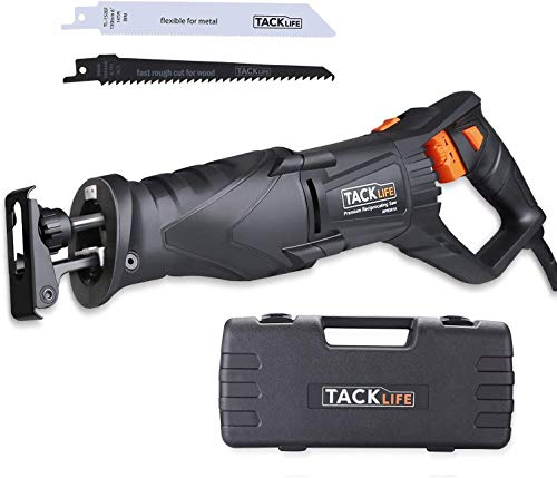 TACKLIFE Reciprocating Saw, 7 Amp Recip Saw with Rotary Handle(Left & Right 90°), 0-2800SPM Variable Speed, LED Lights, 2 Saw Blades for Wood and Metal, Sturdy Box, 1-1/8