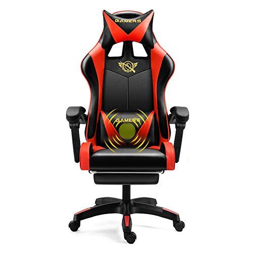 Gaming-Sessel, neigbar, verstellbar, aus PU-Leder, Massage zu Hause, ergonomischer Spielstuhl, neigbar, Rot, Schwarz
