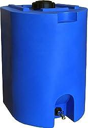 Tanque de almacenamiento de agua azul de 55 galones por WaterPrepared - Contenedor de barril de agua de emergencia con una espita para la preparación de emergencias en caso de desastre - Apilable, Ahorro de espacio - Libre de BPA