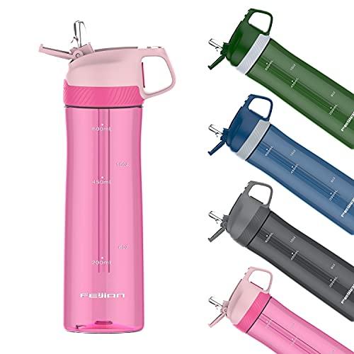 Borraccia da 600 ml con cannuccia, borraccia in Tritan chiudibile a chiave per attività all'aperto, campeggio, escursionismo, ciclismo, rosa