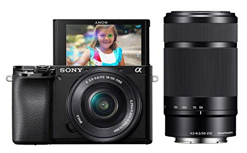 Sony Alpha A6100 Mirrorless Camera with 16-50mm and 55-210mm Zoom Lenses, ILCE6100Y/B, Black (Renewed)