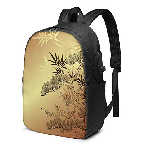 AOOEDM Asian Branches and Bamboo Striking Aroma, Natural Laptop Backpack Men Women USB Port Slim Business Computer Backpack Anti-Theft Water Resistant Travel Laptop Bag Lightweight 17 Inch