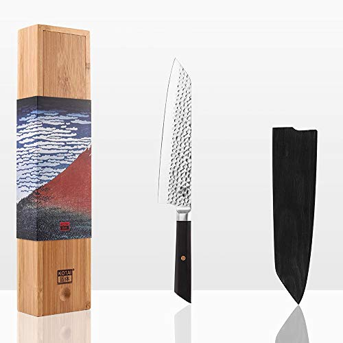 KOTAI Professional Chef's Knife - Japanese aus-8 High-Carbon Stainless Steel Kitchen Knife - 8 inch Chef Knife Blade with Black Ebony Handle - Kiritsuke Japanese Knife with Knife Guard