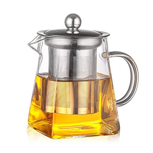 HshDUti 350/550/750 / 950ml Glas Edelstahl Hitzebeständiger Teekannen Sieb Infuser 350ml