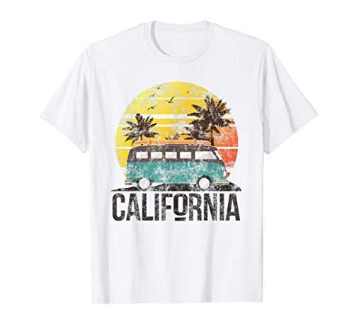 California Retro Surf Vintage Van Surfer Surfing Distressed T-Shirt