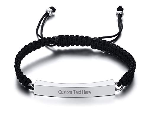 MEALGUET Personalized Customized Stainless Steel Cremation Urn Bracelet ID Bar Braided Bracelet for Ashes Holder Keepsake Locket for Women Men