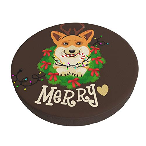 Round Bar Stool Cushions Covers Funny Corgi Dog Merry Christmas Non Slip Round Seat Cover Protector Stretch Barstools Velvet Slipcover for Backless Adjustable Height Chair with Wheels