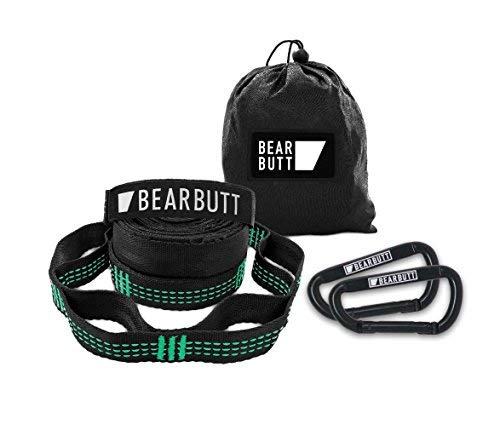 Bear Butt Kodiak Hammock Straps - 40 Combined Loops - 20 Feet Long - Holds 1000 Pounds from Our Extra Reinforced Triple Stitching - Get Our Hammock Tree Straps - Start Up Company (Black/Green)
