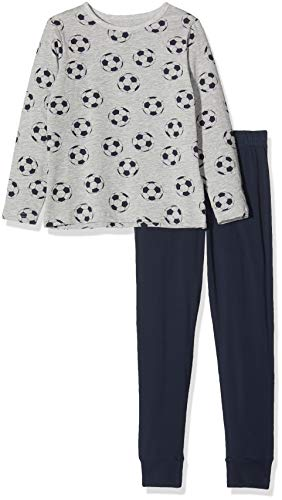 NAME IT Jungen NKMNIGHTSET Mel Football NOOS Zweiteiliger Schlafanzug, Mehrfarbig(Grey MelangeGrey Melange), 134 (Herstellergröße: 134-140)