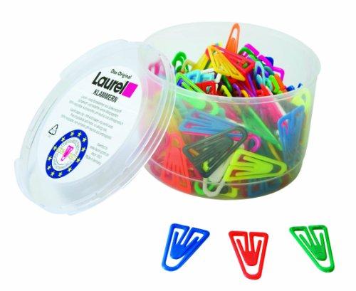 Laurel Büroklammer Plastiklips aus Polystyrol, 35 mm, Dose, grund/leuchtfarbig sortiert