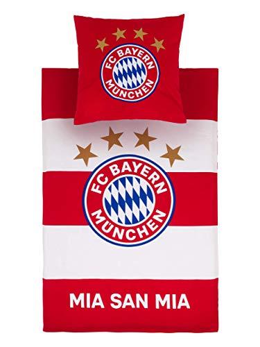 FC Bayern München Bettwäsche rot/weiß Biber 135 x 220 cm; Kissen: 80 x 80 cm