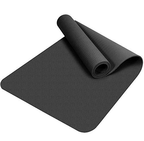 Good Times - Esterilla de yoga, antideslizante, TPE, hipoalergénica, hipoalergénica, con funda y correa, 183 x 61 x 0,8 cm, color negro
