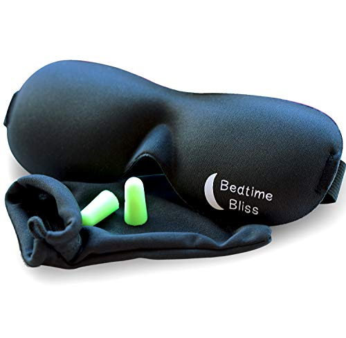 Sleep Mask by Bedtime Bliss - Contoured & Comfortable With Moldex Ear Plug Set. Includes Carry...