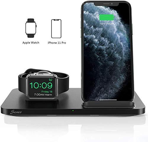 Seneo Soporte de Carga Inalámbrica - 7.5W Cargador Doméstico 2 en 1 para iPhone 8 a iPhone 11 Pro, Cargador Desmontable para Apple Watch