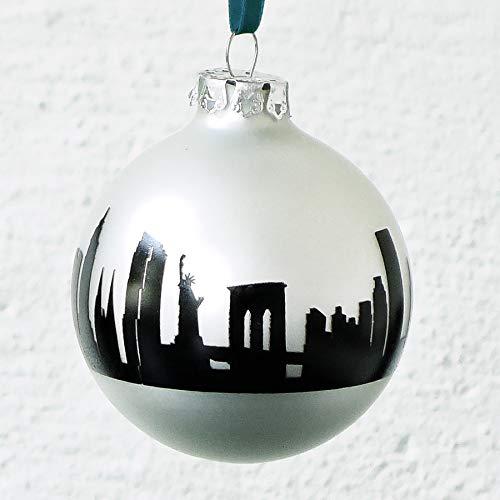 44spaces New York Design-Christbaumkugel zu Weihnachten, Glas Silber matt Skyline schwarz, Weihnachtsschmuck zum Anhängen