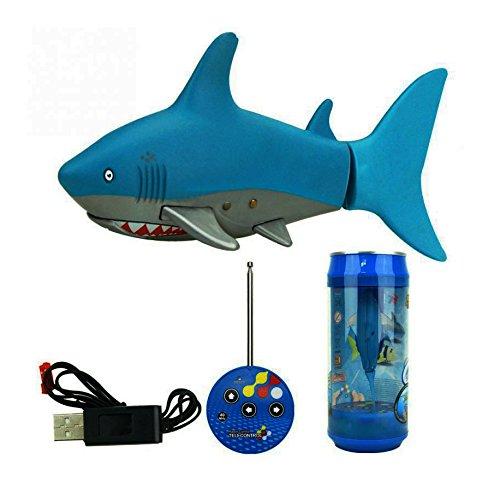 Escomdp Mini RC Fisch Kinder Wiederaufladbar Elektrisches Spielzeug Fernbedienung Schwimmender Hai Wasser Spiel Spielzeug Boot Kinder (Blue)