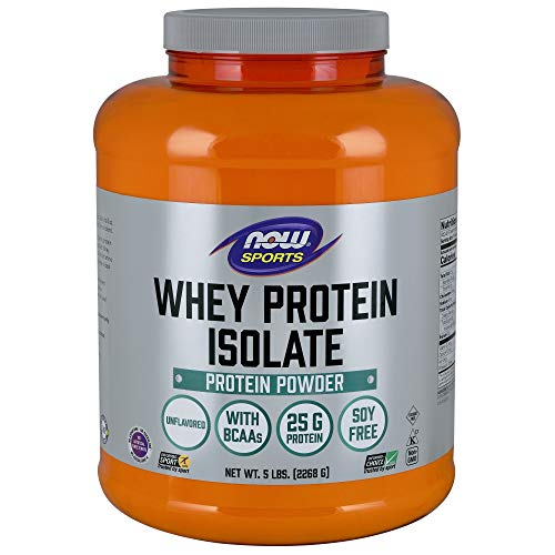 Now Sports Nutrition, Whey Protein Isolate, 25 G with BCAAs, Unflavored Powder, 5-Pound
