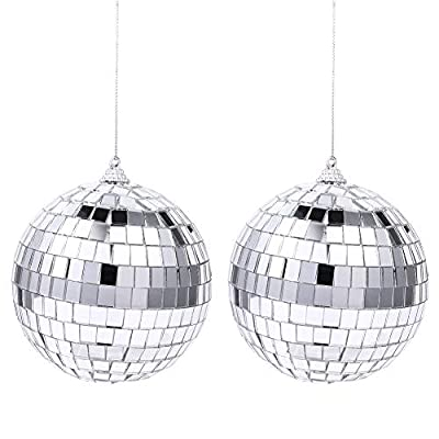 limewie 2 Packs Mirror Disco Ball with Hanging Ring - Perfect for Home Decorations, Stage Props, Game Accessories, School Festivals, Party Favor and Supplies (Silver Hanging Ball)