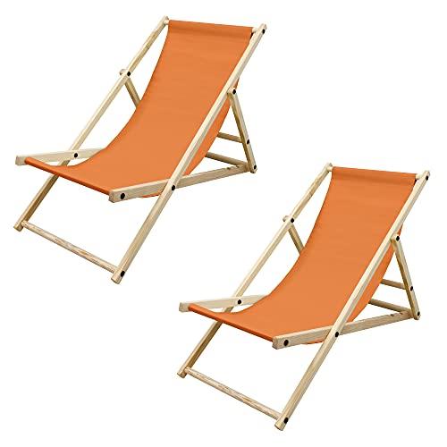 ECD Germany 2er Set Liegestuhl klappbar aus Holz, 3 Liegepositionen, Orange, bis 120kg, Gartenliege Sonnenliege Relaxliege Strandliege Liege Strandstuhl Klappstuhl, für den Garten Terrasse und Balkon