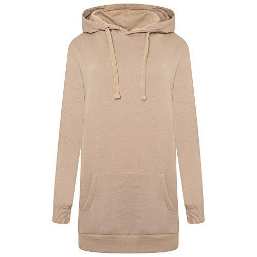 M17 Ladies Pullover Longline Hoody Casual Hooded Sweatshirt Top Sudadera con Capucha, Toffee Brown, XL para Mujer