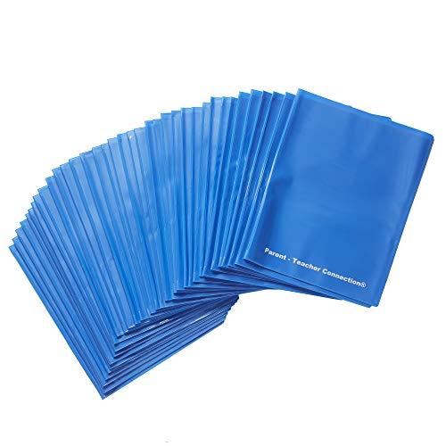 ECR4Kids MessageStor 2-Pocket Parent-Teacher Classroom Communication Folder, Flexible Plastic Folder with Pockets, Letter Size Paper, 36-Piece Set, Blue