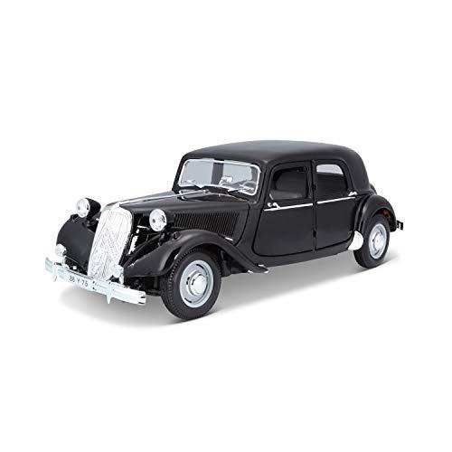 Maisto Citroen 15CV '52,Modellauto mit Federung, Maßstab 1:18, Türen und Motorhaube beweglich, Fertigmodell, lenkbar, 24 cm, schwarz (531821)