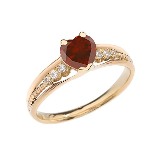 Dazzling 14k Yellow Gold Diamond And Garnet Birthstone Heart Beaded Promise Ring (Size 8)