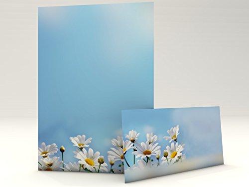 Motivpapier mit Umschlag Gänseblümchen Set mit 50 Blatt A4 und 50 Kuverts DIN LANG