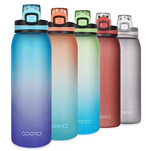 Opard 30oz Sports Water Bottle with Leak Proof Flip Top Lid BPA Free Tritan Reusable Plastic for Gym and Outdoor (Blue Purple)