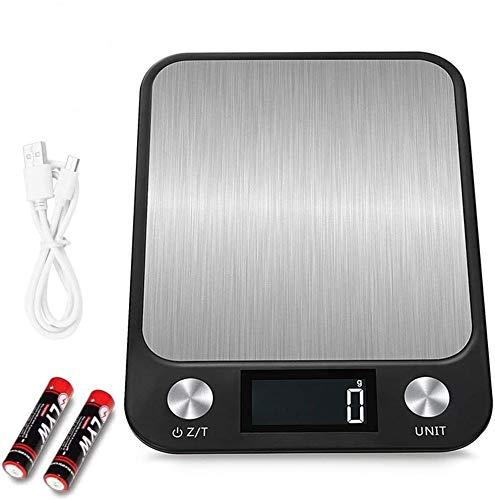 All--In Digital Waage Edelstahl Wasserdicht 10kg/ 1g mit LCD- Display Küchenwaagen mit 2* Batterien (Schwarz)